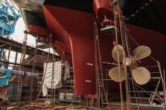 船推进器特写镜头在干船坞的 图库摄影
