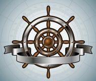 船有横幅的方向盘。 免版税库存图片