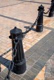 系船柱铸铁黑色 库存照片