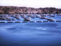 船港口被停泊海上在山村旁边的 库存图片