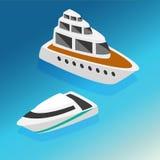 船游艇小船等量象设置了传染媒介例证 库存照片