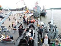 船游行在克莱佩达,立陶宛庆祝 库存照片