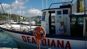 船的在统治权的DEA戴安娜一名增长的妇女在赛船会期间 库存照片