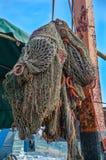 船的捕鱼网 免版税库存照片