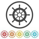 船的方向盘,船轮子,包括的6种颜色 库存例证