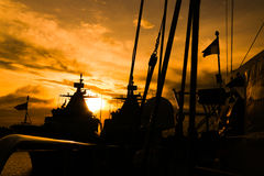 从船的日落 免版税库存照片