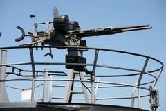 从船的机枪 库存照片