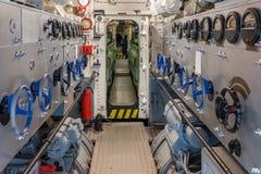 船的机舱的看法 免版税库存照片