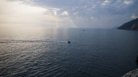 船的踪影在Potoverence 库存照片