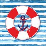 船舶传染媒介例证 与船锚和保险索的海洋例证 免版税库存照片