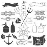 船舶和海元素 免版税库存图片