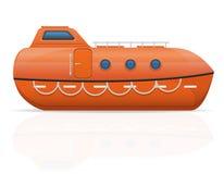 船舶救生艇传染媒介例证 免版税库存照片