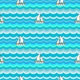 船舶无缝的样式 免版税库存照片