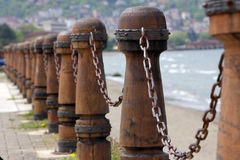 船舶栏杆、海和栏杆 库存照片