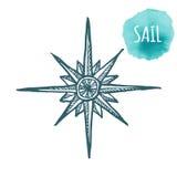 船舶海洋风上升了,旅行的,航海设计指南针象 纹身花刺的,印刷品手拉的例证 向量 免版税库存照片