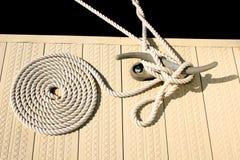 船舶绳索白色 库存图片