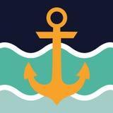 船舶船锚和轮子波浪 免版税图库摄影