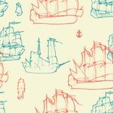 船舶葡萄酒无缝的样式 库存照片
