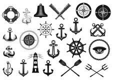 船舶象设置了与船锚、舵和绳索 免版税库存照片