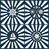 船舶象集合 船锚, lifebuoy,船方向盘 图库摄影