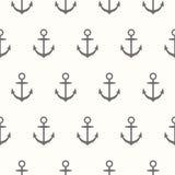 船舶题材 与船锚剪影的无缝的样式  免版税库存图片