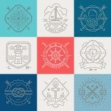 船舶,冒险和旅行象征标志和标签 免版税图库摄影