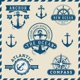 船舶,航行,航海和海洋权威略写法 向量例证