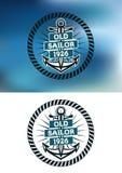 船舶主题的老水手徽章 库存照片