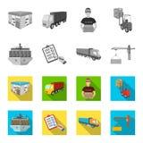船运,交付文件署名,卡车,有容器的塔吊 后勤学和交付集合收藏 免版税库存图片
