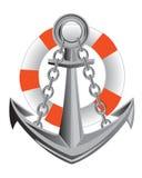 船锚和救生圈 库存图片