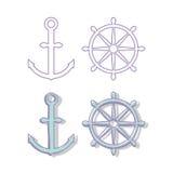 船锚和方向盘 库存图片