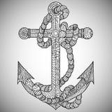 船锚和绳索在zentangle样式 图库摄影