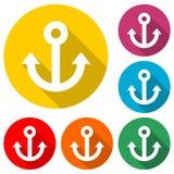 船锚商标,金黄船锚象,与长的阴影的彩色组 向量例证