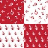 船锚无缝的样式红色 库存图片