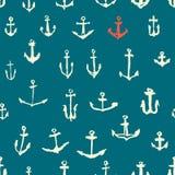 船锚无缝的样式 免版税库存照片