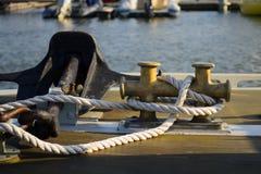 船锚的船舶绳索 库存照片