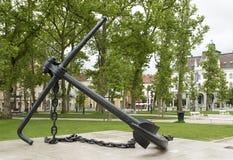 船锚纪念碑国会正方形公园卢布尔雅那斯洛文尼亚 库存图片