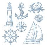 船锚,轮子,帆船,罗盘,壳,螃蟹,灯塔板刻 库存例证