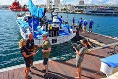 船长Bouwe Bekking队布鲁内尔富豪集团海洋种族2017年 免版税库存照片