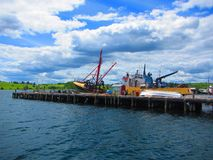 船靠码头在码头 库存照片