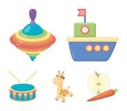 船, yule,长颈鹿,鼓 玩具设置了在动画片样式传染媒介标志股票例证网的汇集象 库存例证