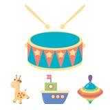 船, yule,长颈鹿,鼓 玩具设置了在动画片样式传染媒介标志股票例证网的汇集象 皇族释放例证