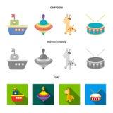 船, yule,长颈鹿,鼓 玩具设置了在动画片,平,单色样式传染媒介标志股票例证的汇集象 库存例证