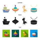 船, yule,长颈鹿,鼓 玩具设置了在动画片,黑色,平的样式传染媒介标志股票例证网的汇集象 皇族释放例证