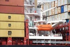 货船MSC BRUNELLA的救生艇 免版税图库摄影