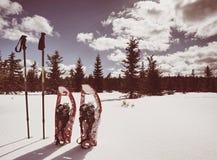 艰苦跋涉的冬天设备:雪靴和迁徙的杆 免版税图库摄影