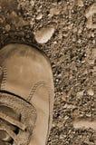 艰苦高涨启动鞋子干旱的旱田 库存图片