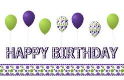 紫色、绿色和短上衣被加点的生日快乐和气球 免版税图库摄影