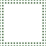 绿色三叶草边界,在白色背景隔绝的框架 爱尔兰标志样式 额嘴装饰飞行例证图象其纸部分燕子水彩 圣帕特里克天模板 库存例证