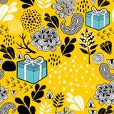黄色与假日礼物的背景无缝的样式 传染媒介不尽的例证 库存照片